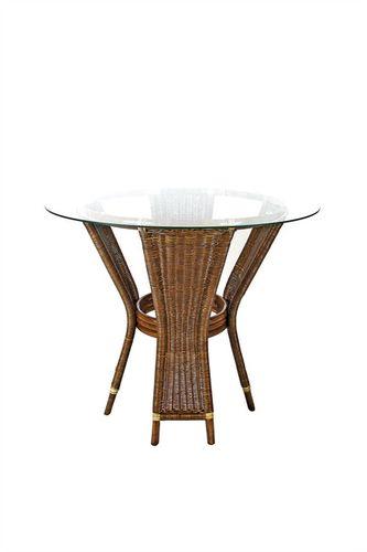 Ratanový jídelní stůl UNI - tmavý