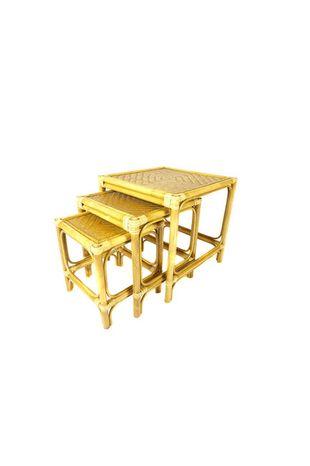 Ratanový stolek hranatý VENDY - světlý - sada