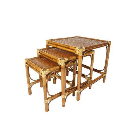 Ratanový stolek hranatý VENDY - tmavý - sada